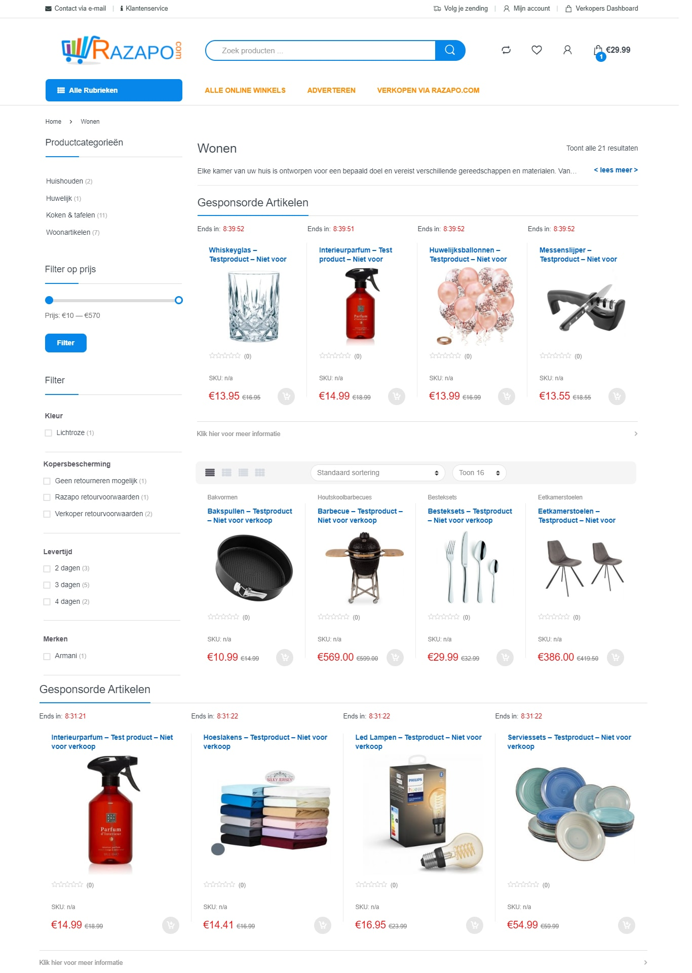 Productcategorie pagina's